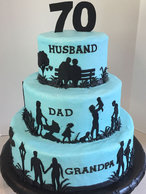 Husband Dad Grandpa Silhouette Birthday Cake Sweet